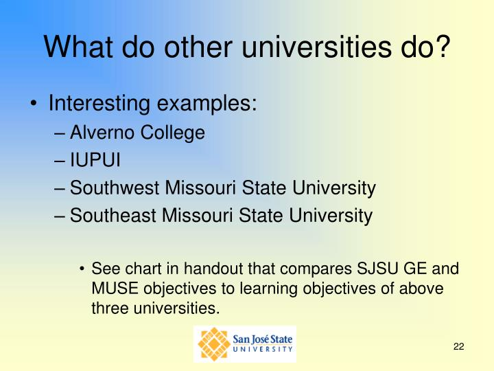 What do other universities do?