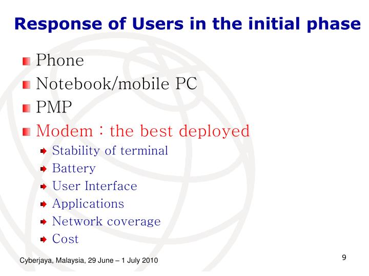 Response of Users in the initial phase