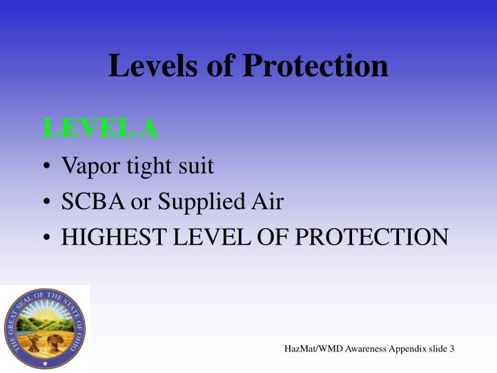 Levels of protection