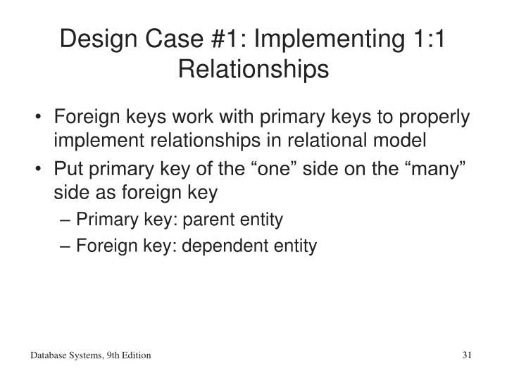 Design Case #1: Implementing 1:1 Relationships