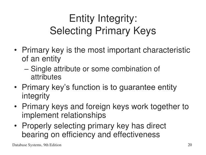 Entity Integrity: