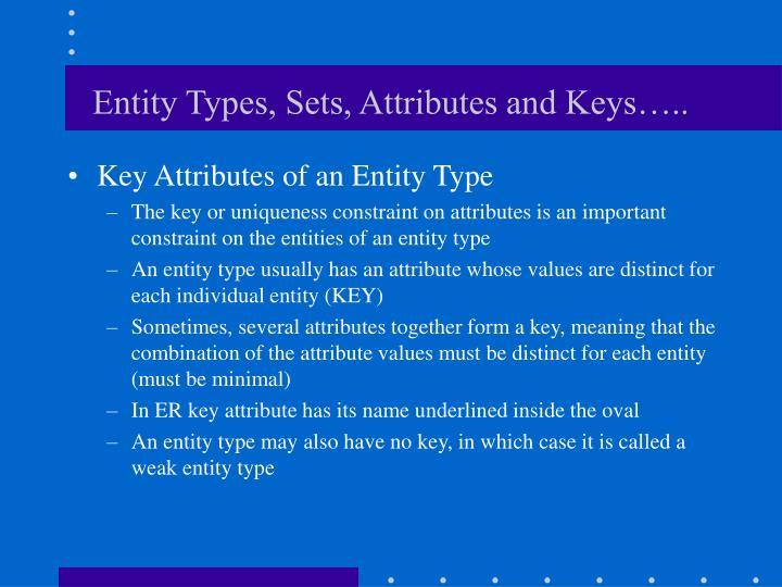 Entity Types, Sets, Attributes and Keys…..