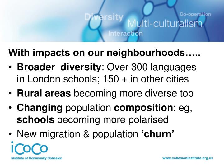 With impacts on our neighbourhoods…..