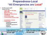 preparedness local all emergencies are local