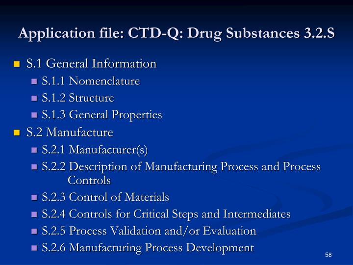 Application file: CTD-Q: Drug Substances 3.2.S