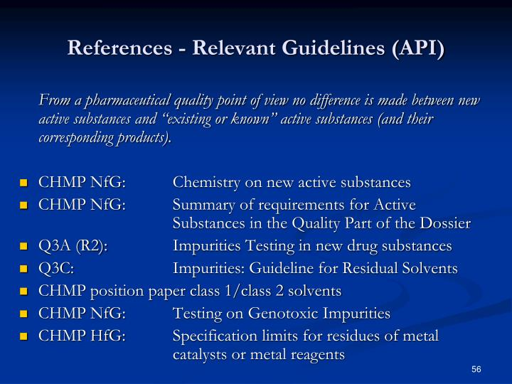 References - Relevant Guidelines (API)