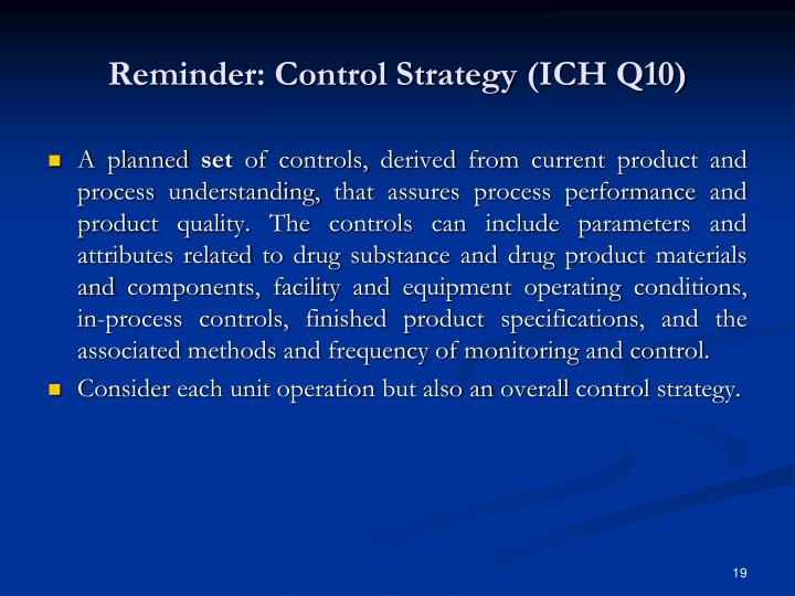 Reminder: Control Strategy