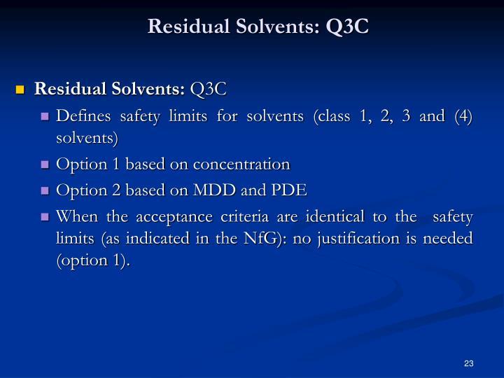 Residual Solvents: Q3C