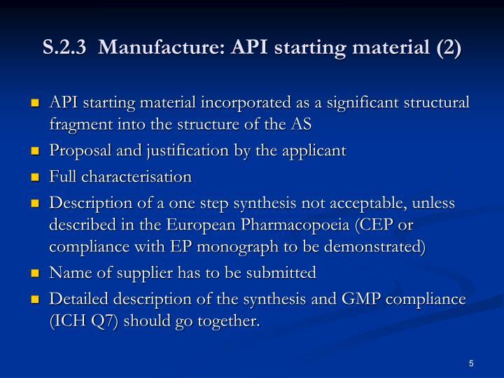 S.2.3  Manufacture: API starting material (2)