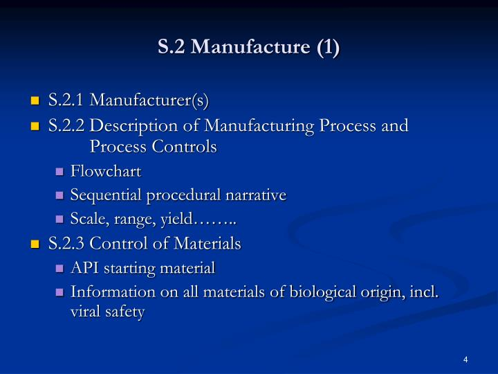 S.2 Manufacture (1)