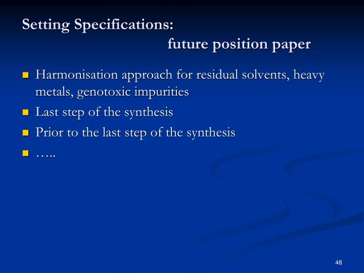Setting Specifications: