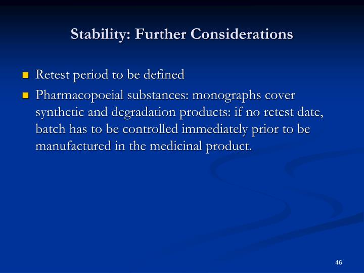 Stability: Further Considerations