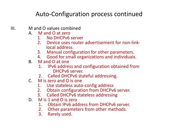 Auto-Configuration process continued