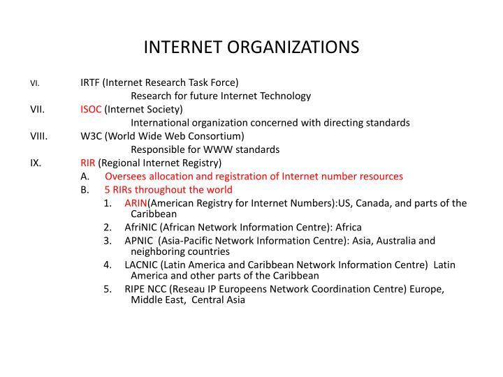 INTERNET ORGANIZATIONS