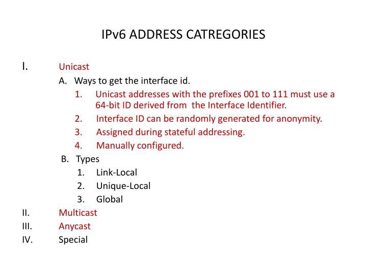 IPv6 ADDRESS CATREGORIES