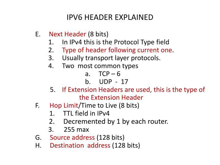 IPV6 HEADER EXPLAINED