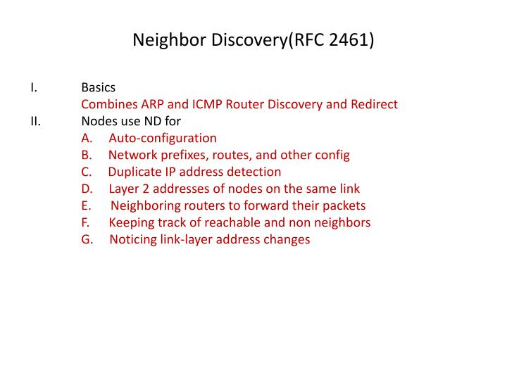 Neighbor Discovery(RFC 2461)