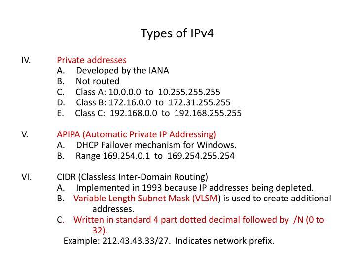 Types of IPv4