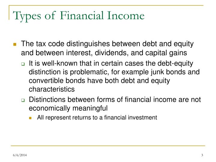 Types of financial income