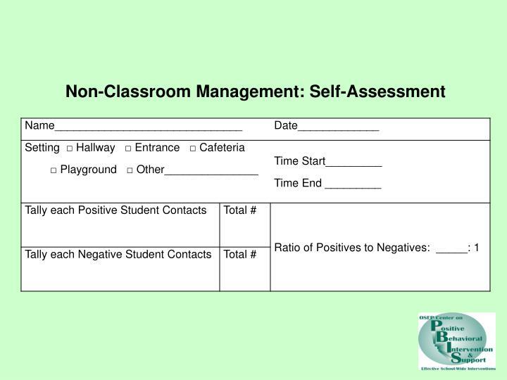 Non-Classroom Management: Self-Assessment