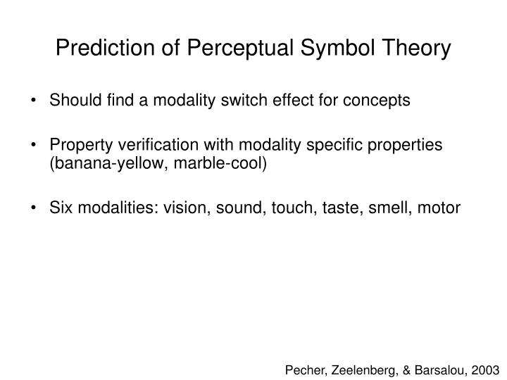 Prediction of Perceptual Symbol Theory