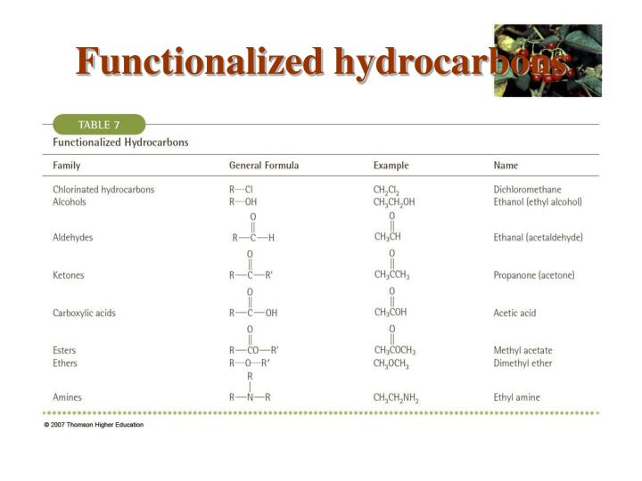 Functionalized hydrocarbons