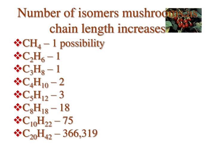 Number of isomers mushrooms as chain length increases