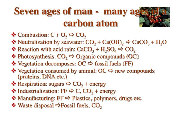 Seven ages of man -  many ages of a carbon atom