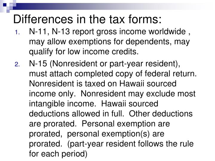 Differences in the tax forms: