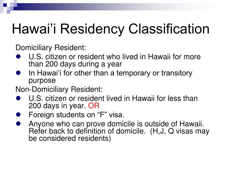 Hawai'i Residency Classification