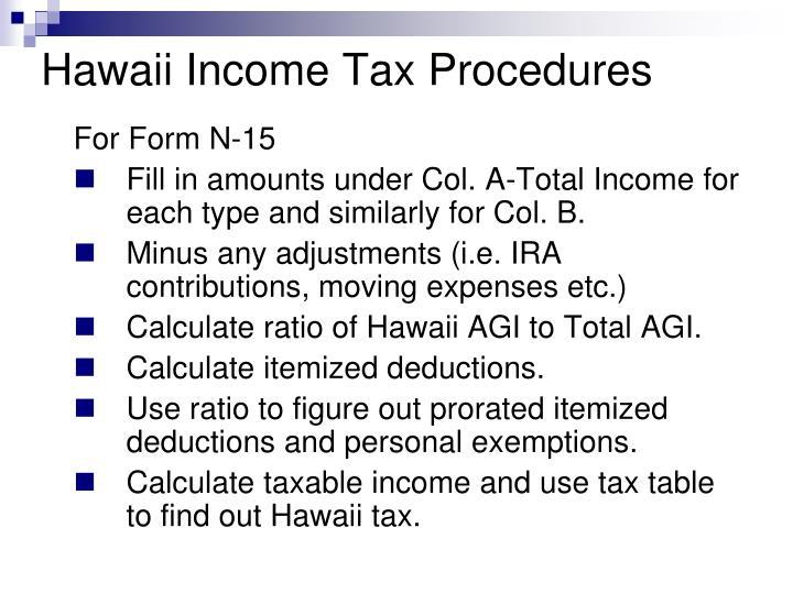 Hawaii Income Tax Procedures