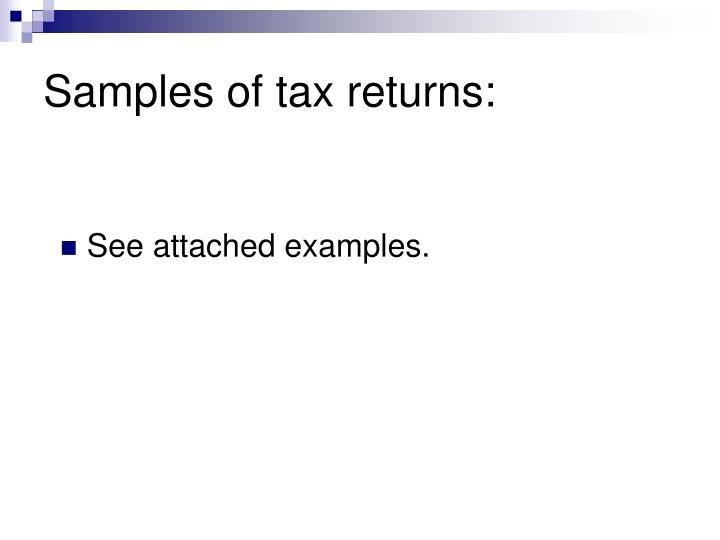 Samples of tax returns: