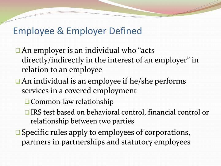 Employee employer defined