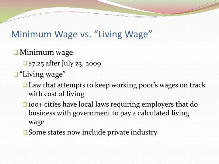 """Minimum Wage vs. """"Living Wage"""""""