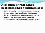 application for multicultural implications during implementation