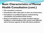 basic characteristics of mental health consultation cont