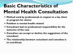 basic characteristics of mental health consultation
