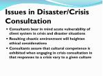 issues in disaster crisis consultation