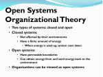 open systems organizational theory