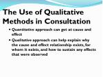 the use of qualitative methods in consultation