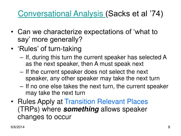 Conversational Analysis