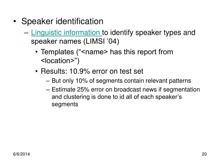 Speaker identification