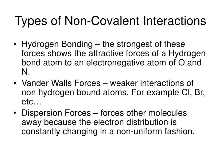 Types of Non-Covalent Interactions