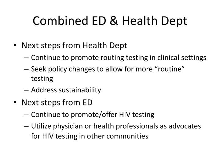 Combined ED & Health Dept