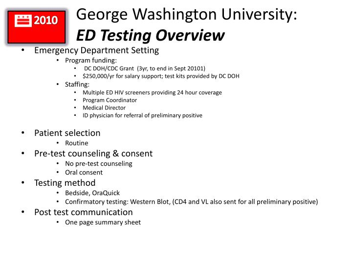 George washington university ed testing overview