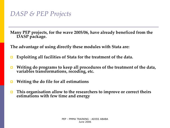DASP & PEP Projects