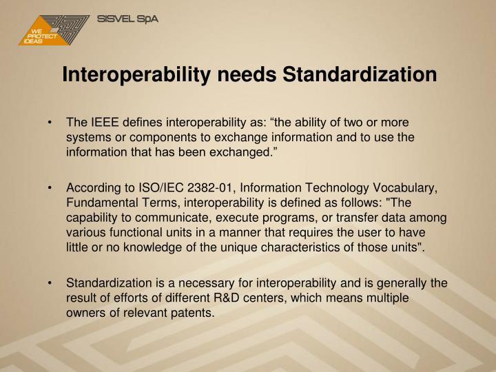 Interoperability needs Standardization