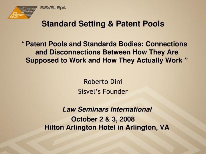Standard setting patent pools