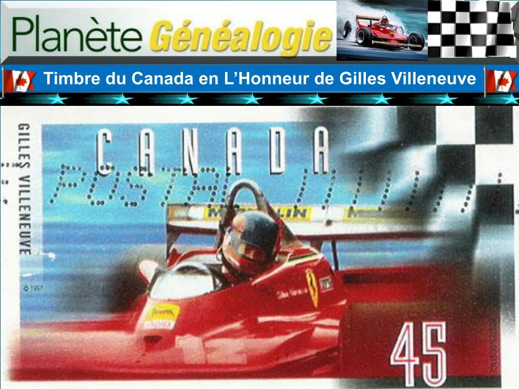 Timbre du Canada en L'Honneur de Gilles Villeneuve