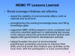 nemo tf lessons learned2
